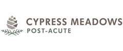 Cypress Meadows Post-Acute logo with pine leaves and a pine cone