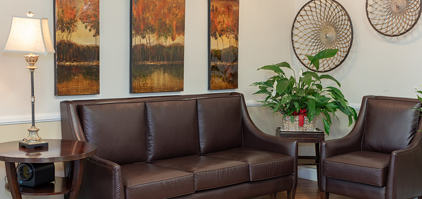 Welcoming seating area with modern art on the walls