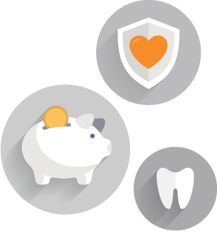 three icons showing a piggy bank, a heart within a shield and a tooth