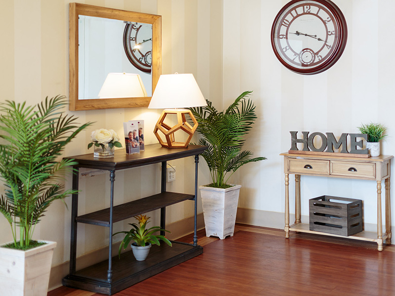 Primrose entryway with homelike indoor plants decorating tables that display the words 'home'.