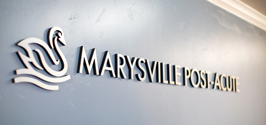 Marysville Post-Acute sign with duck logo