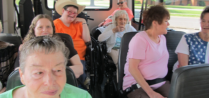 Kirksville residents on the transportation van and out for an excursion