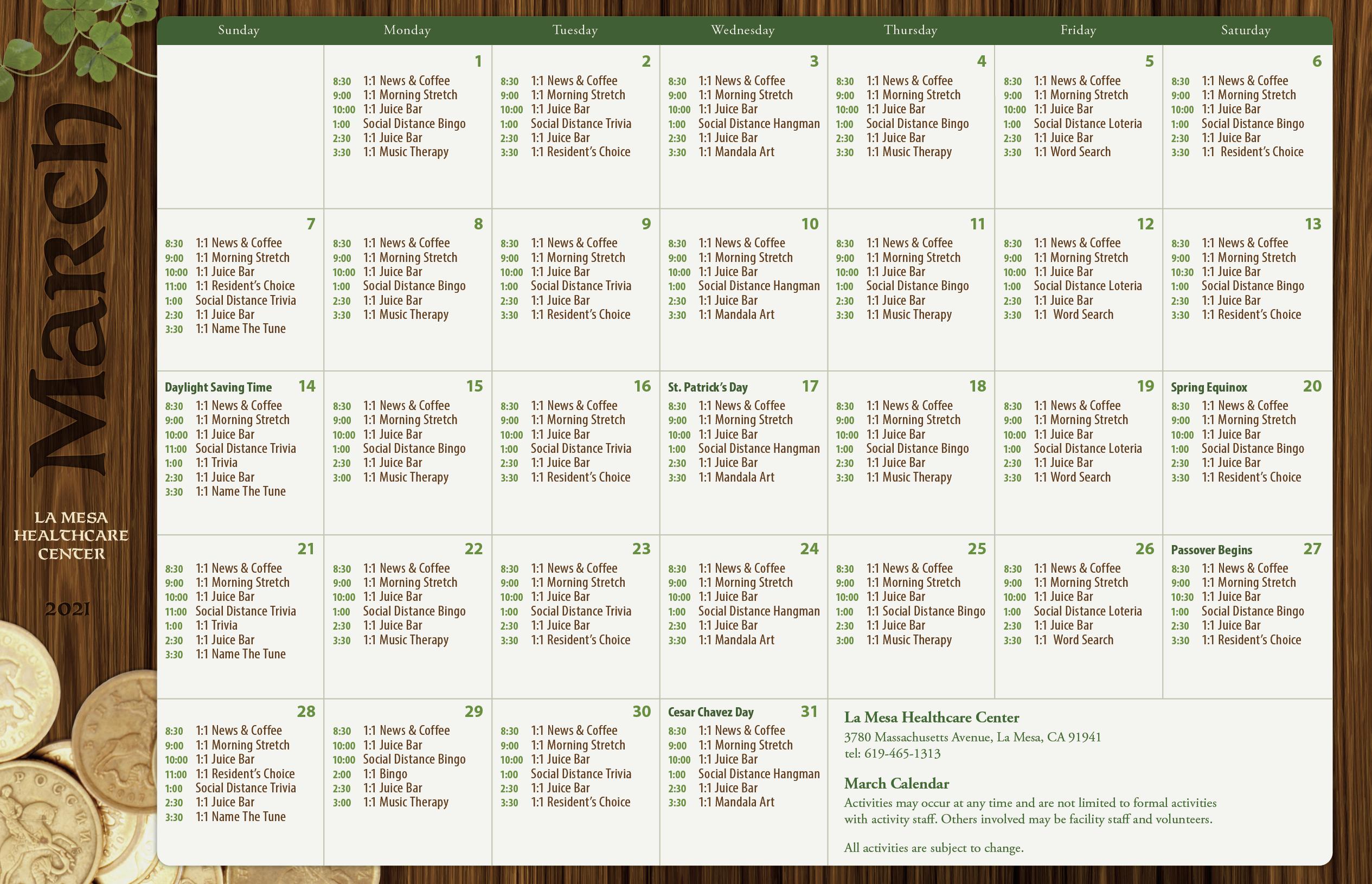 March 2021 Calendar For La Mesa