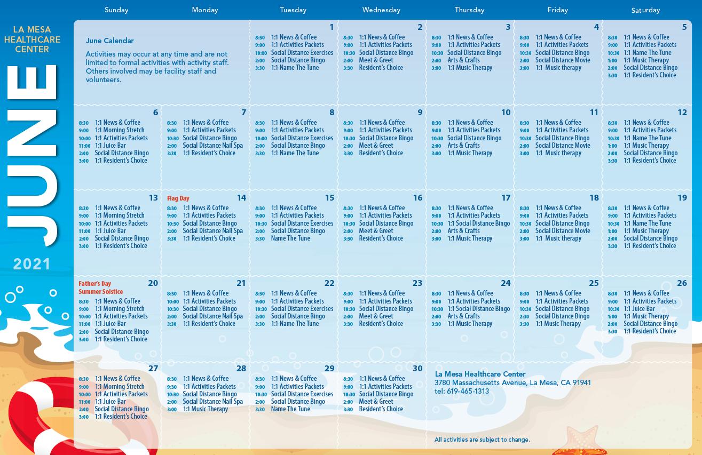 La Mesa June Calendar