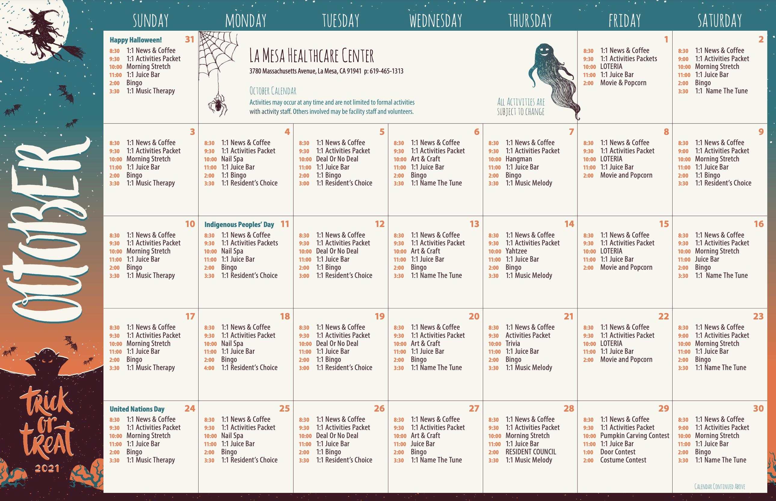 LaMesa Healthcare Center October 2021 Activity Calendar