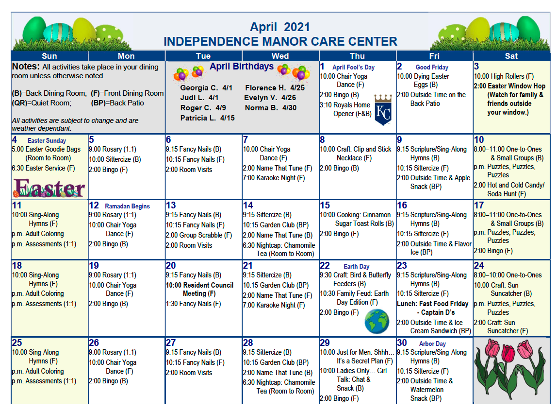 April Independence Manor Care Center 2021