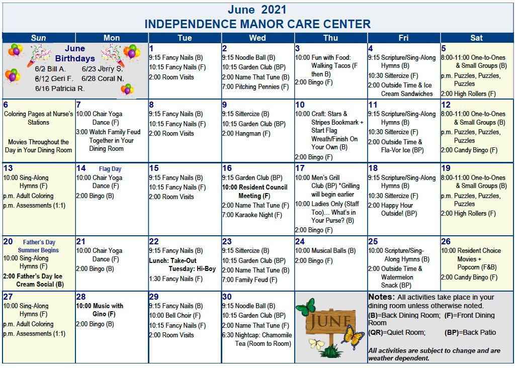 Independence Manor June Activity Calendar