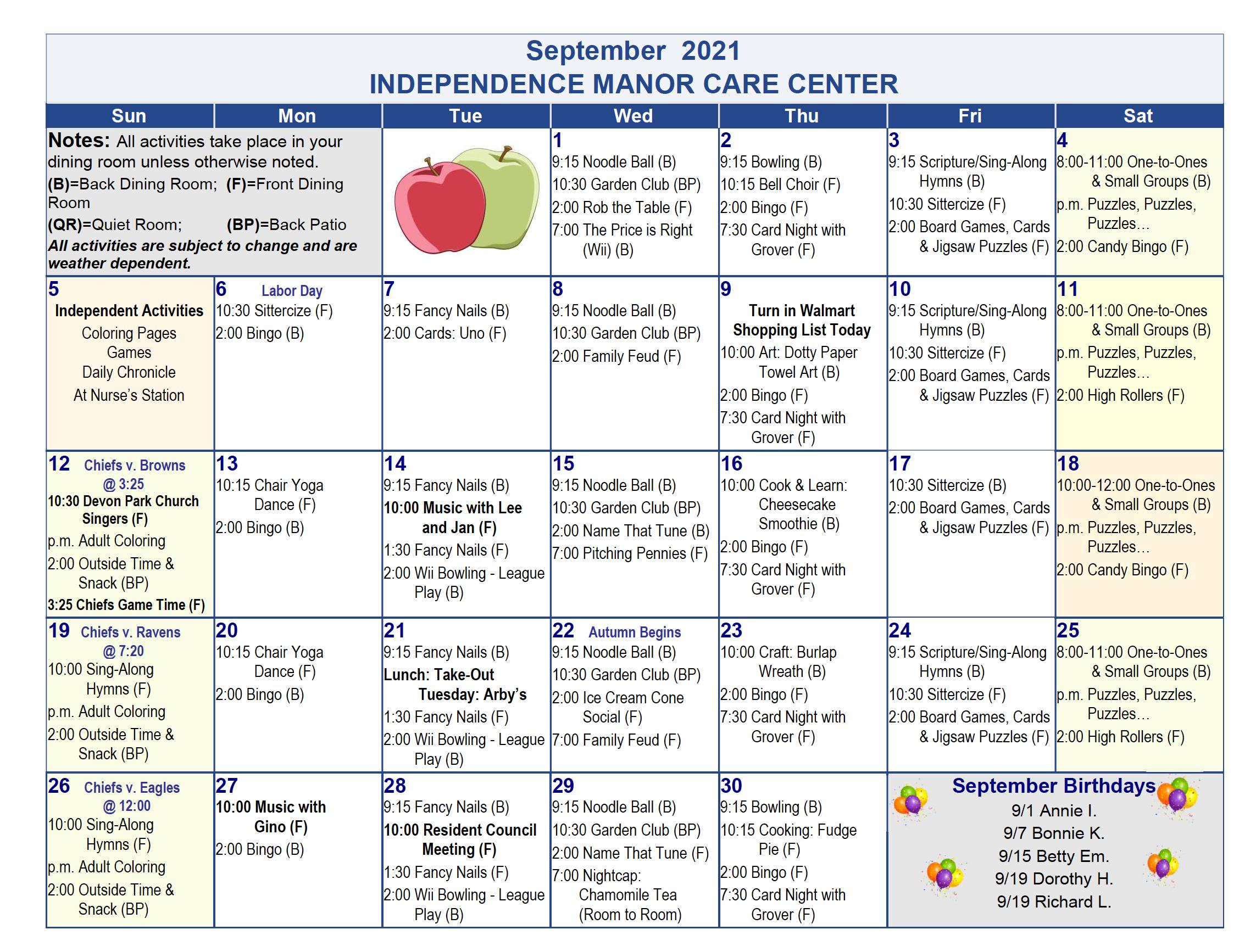 September Independence Manor Calendar