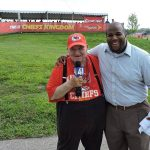 Leslie Smith and Ryan Marshall of 41 KSHB at Chiefs training camp.
