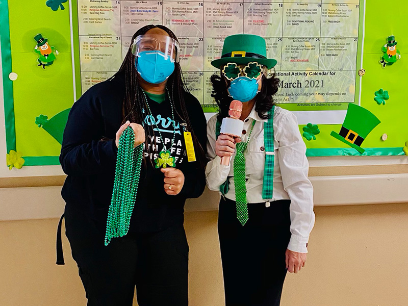 Staff dressed up for St. Patrick's Day to bring joy to the residents