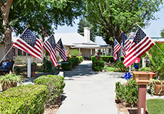 Outdoor walkway lined with American flags