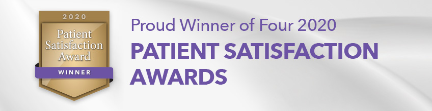 Proud Winner of Four 2020 Patient Satisfaction Awards banner