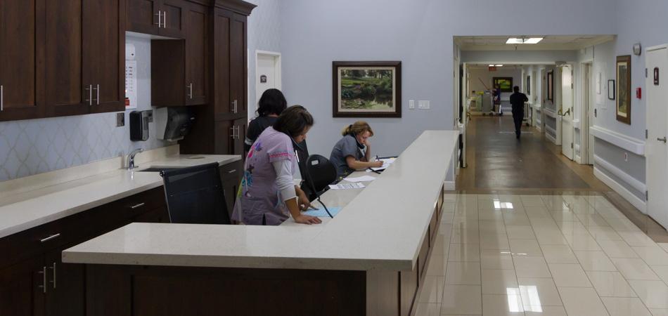 nurses working at the nurses station