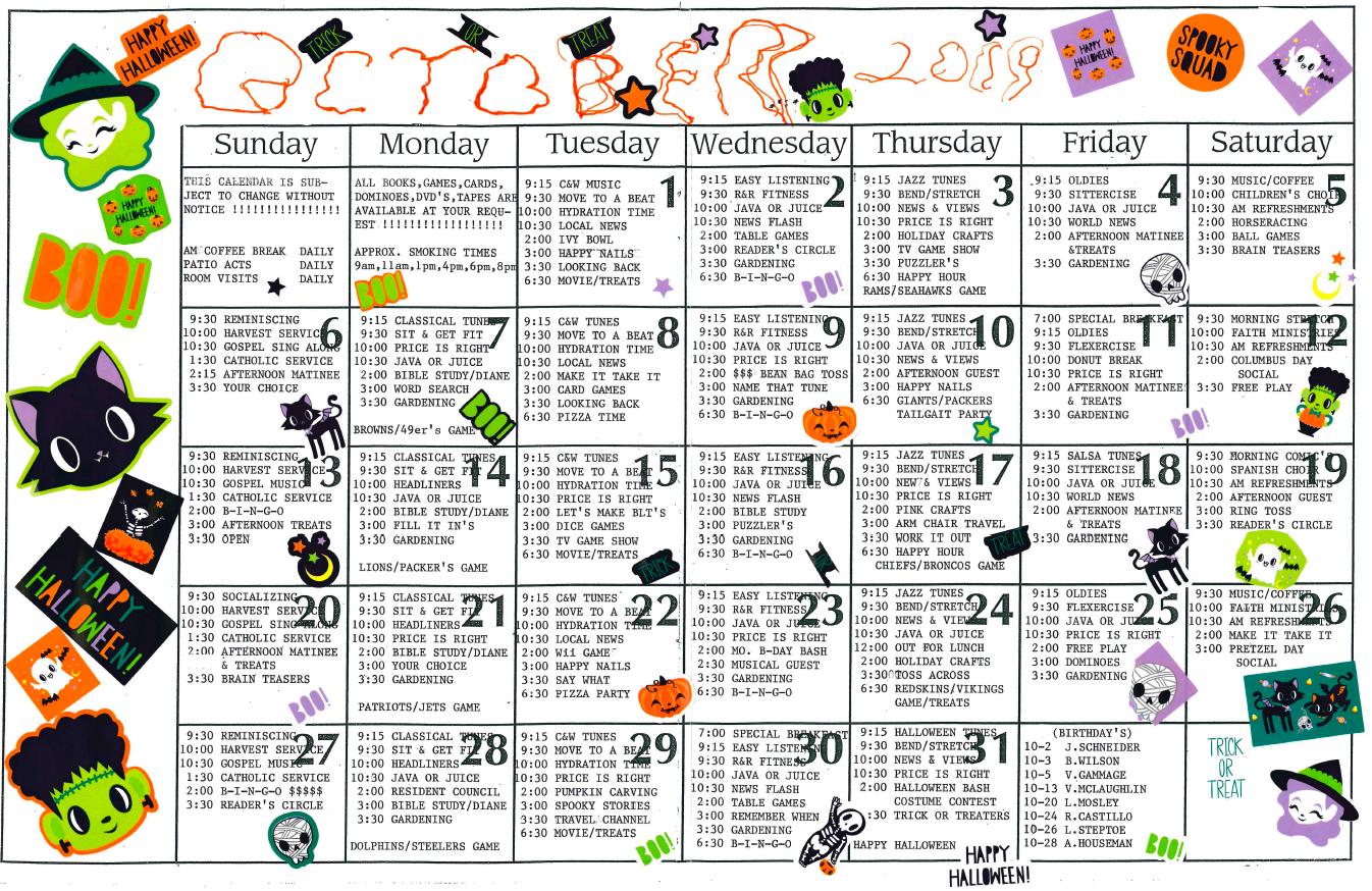 October 2019 Riverwalk activity calendar