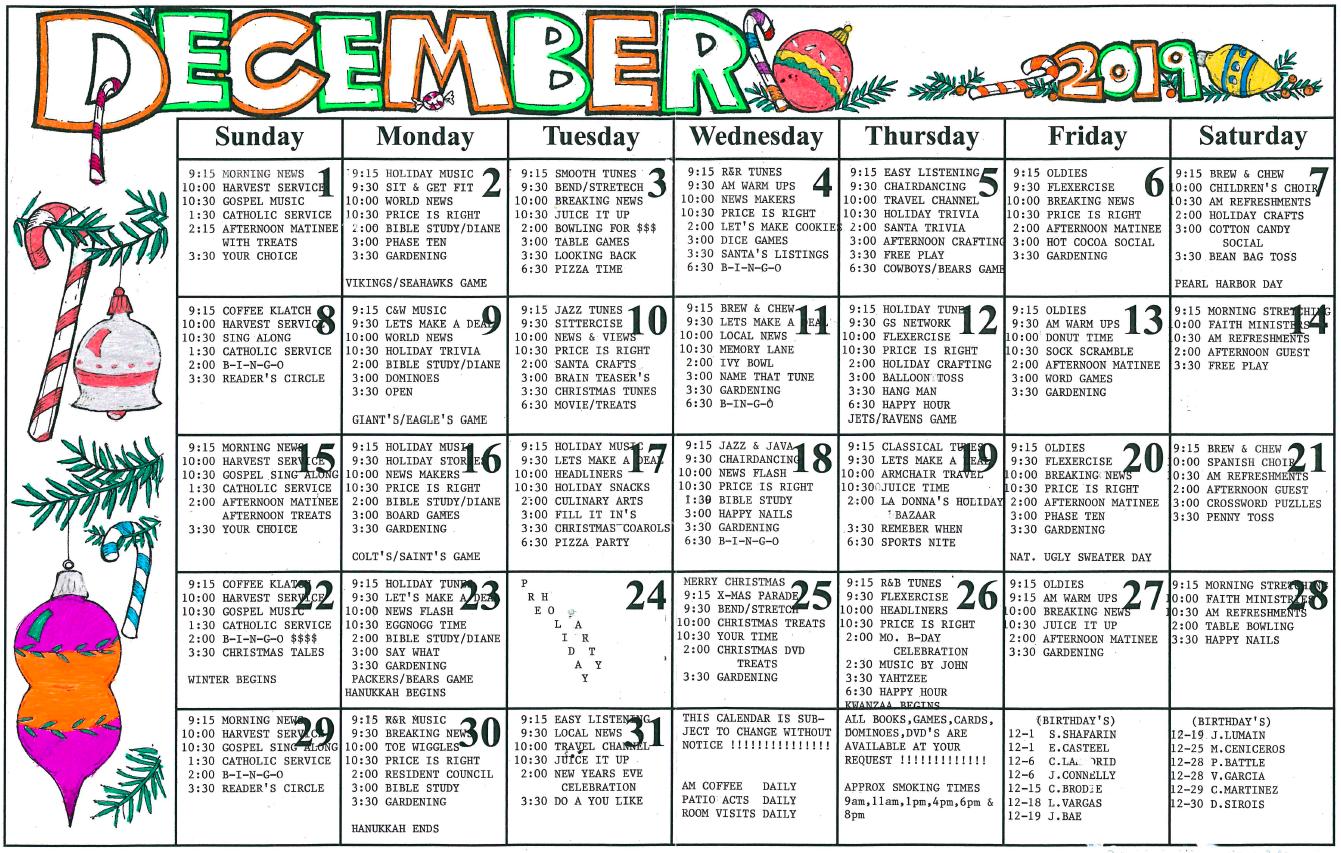 Riverwalk December calendar
