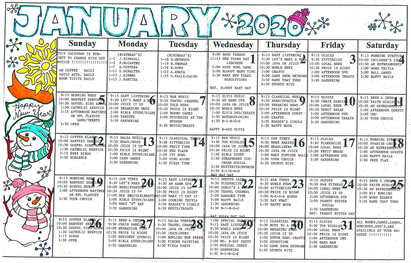 Riverwalk January calendar