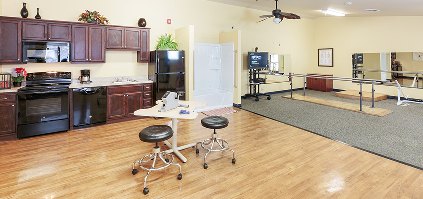 rehabilitation room with various instruments
