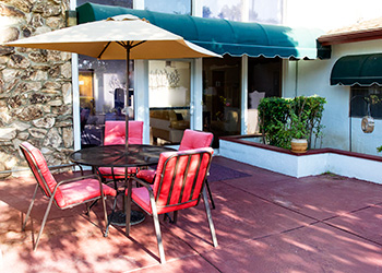 Outside patio area with quaint seating