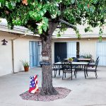 San Jacinto outdoor patio with mature shade trees