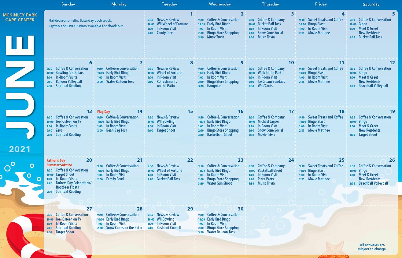 McKinley June Calendar