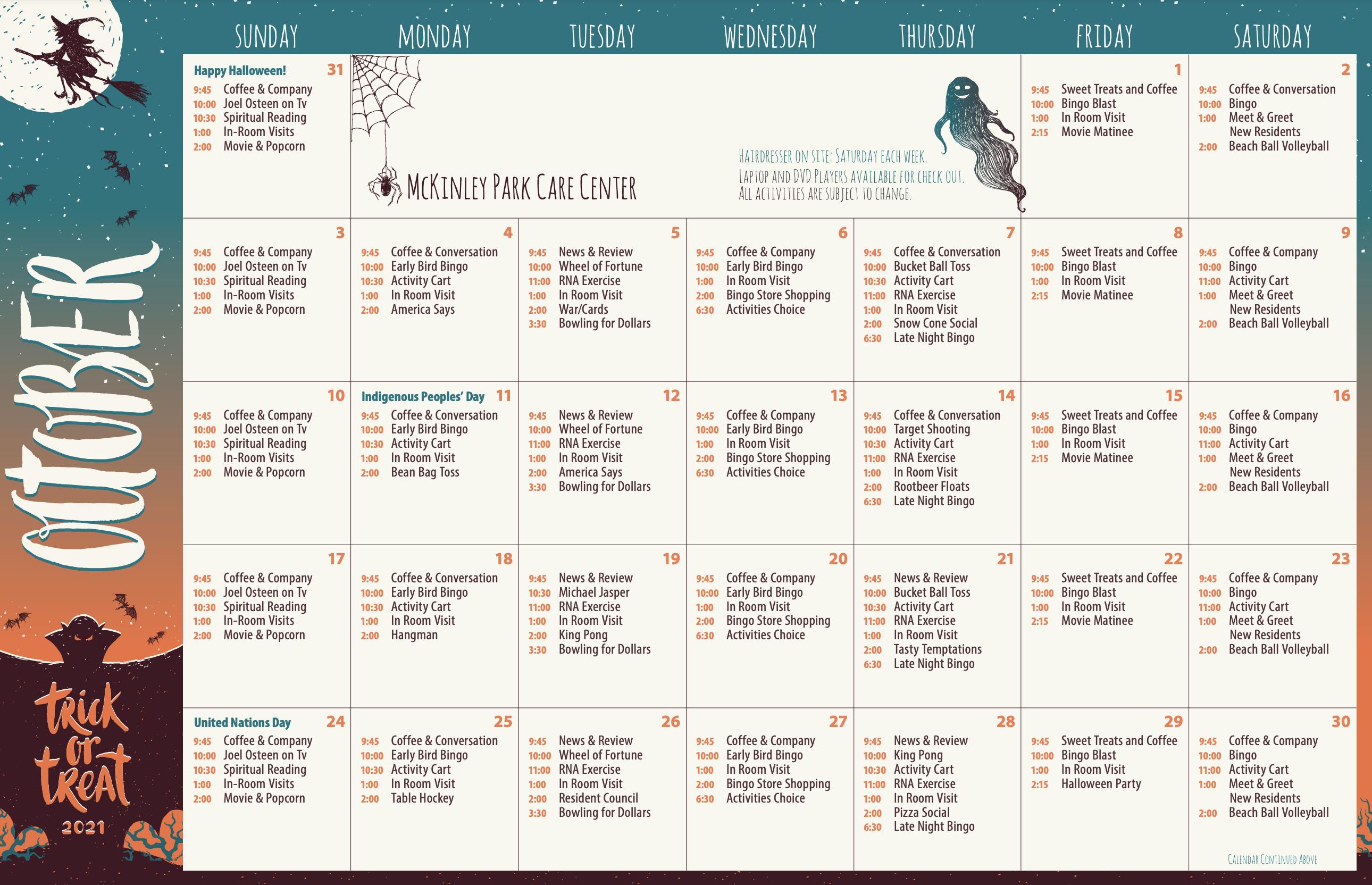 McKinley Park Care Center October 2021 Activity Calendar