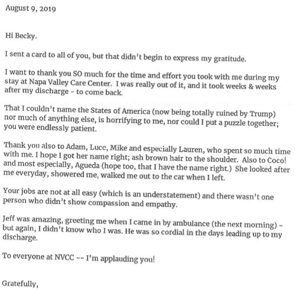 Patient testimonial to the staff dated August 9, 2019