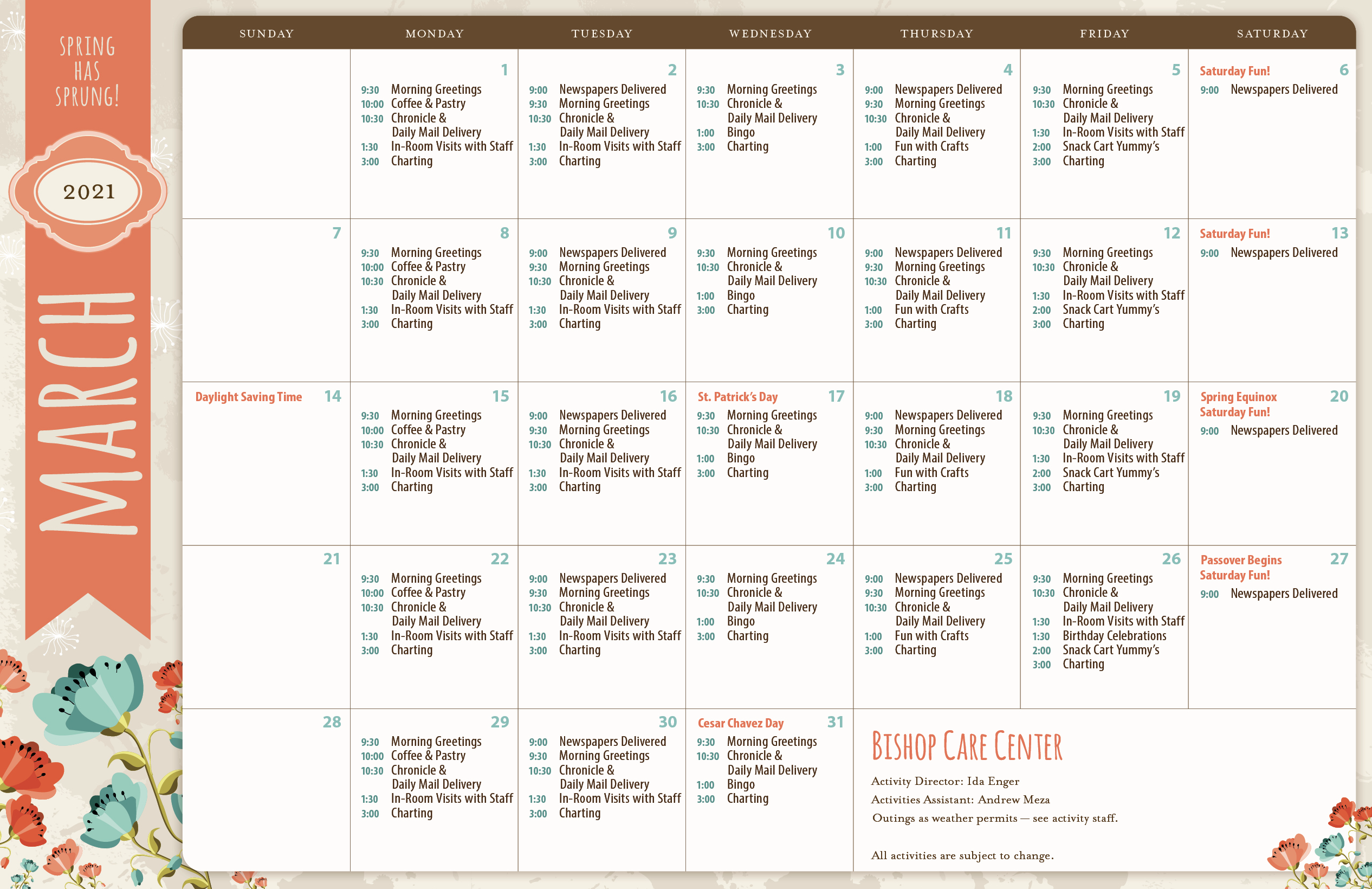 March 2021 Bishop Care Center Activity Calendar