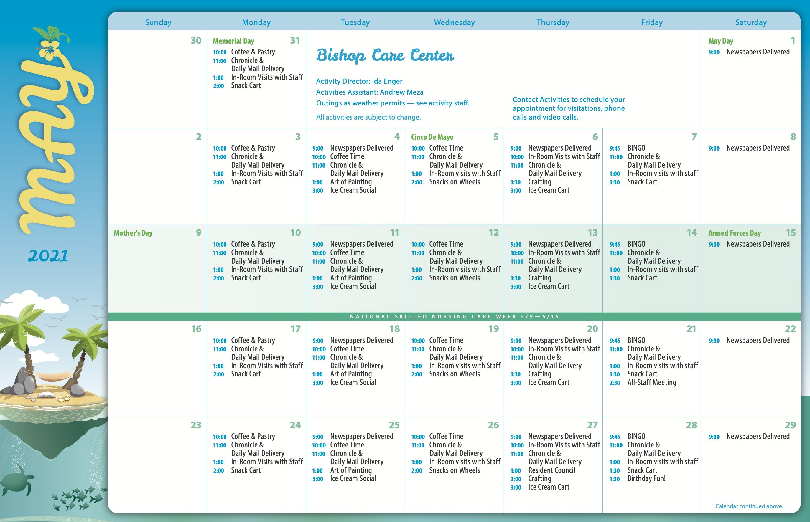 Bishop Care Center May 2021 Calendar