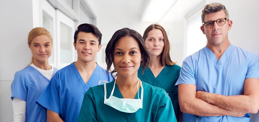 pleasant smiling nurses in the hallway