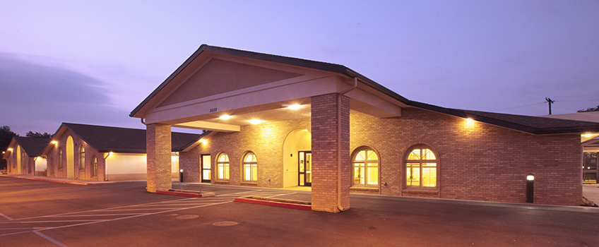 side view of the facility during the evening