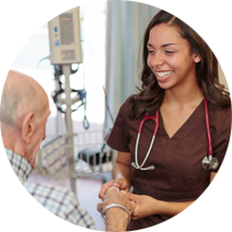 nurse speaking with older gentleman