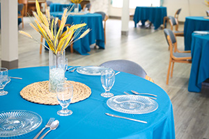 table set with a blue tablecloth and yellow flowers