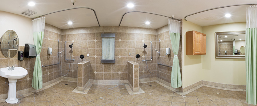 large wide lens shot of a shower area