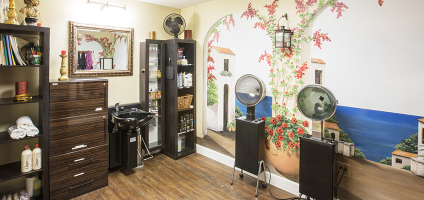 beauty room with book filled shelves and hair steamers