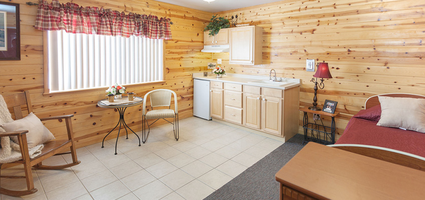 resident room with a lob cabin look