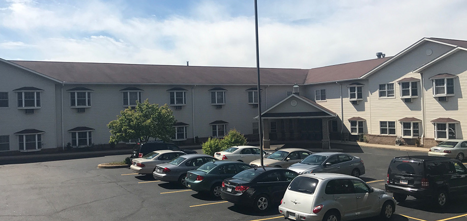 The facility's parking lot