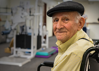 resident smiling at physical therapy