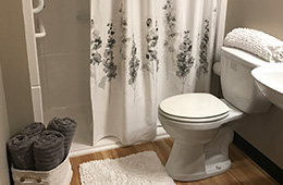 Bathroom area with shower curtain, assistance bars and towels