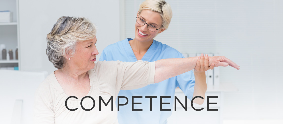 Woman smiling with the word competence to the left