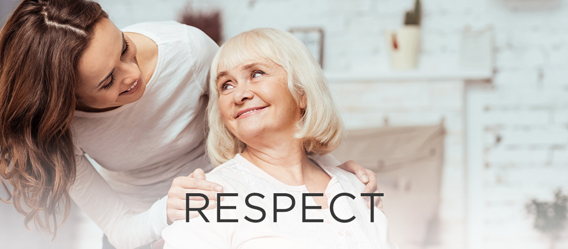 Woman smiling with the word respect to the left