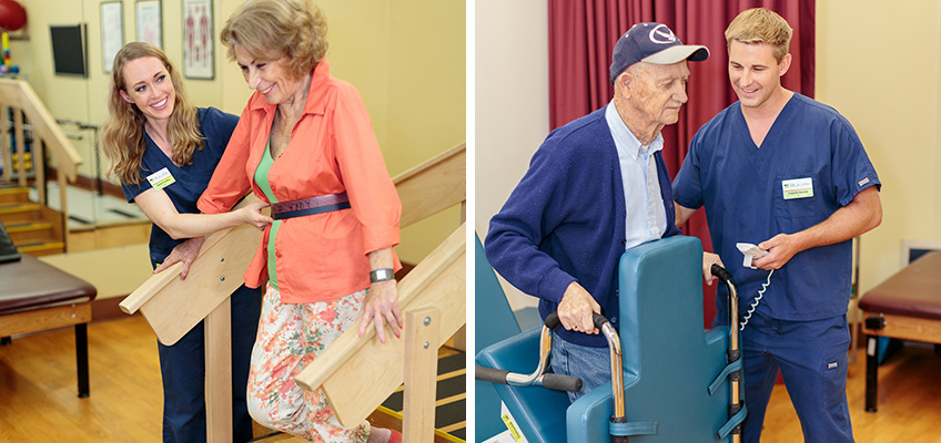 women and men helping different residents in the rehabilitation room