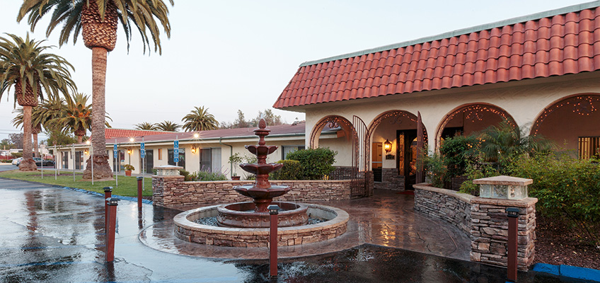 a wet driveway with palm trees and fountains on the front of the building