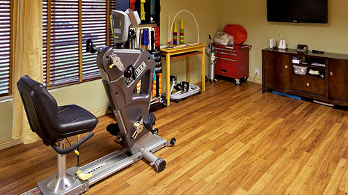 Rehab gym with wood floors