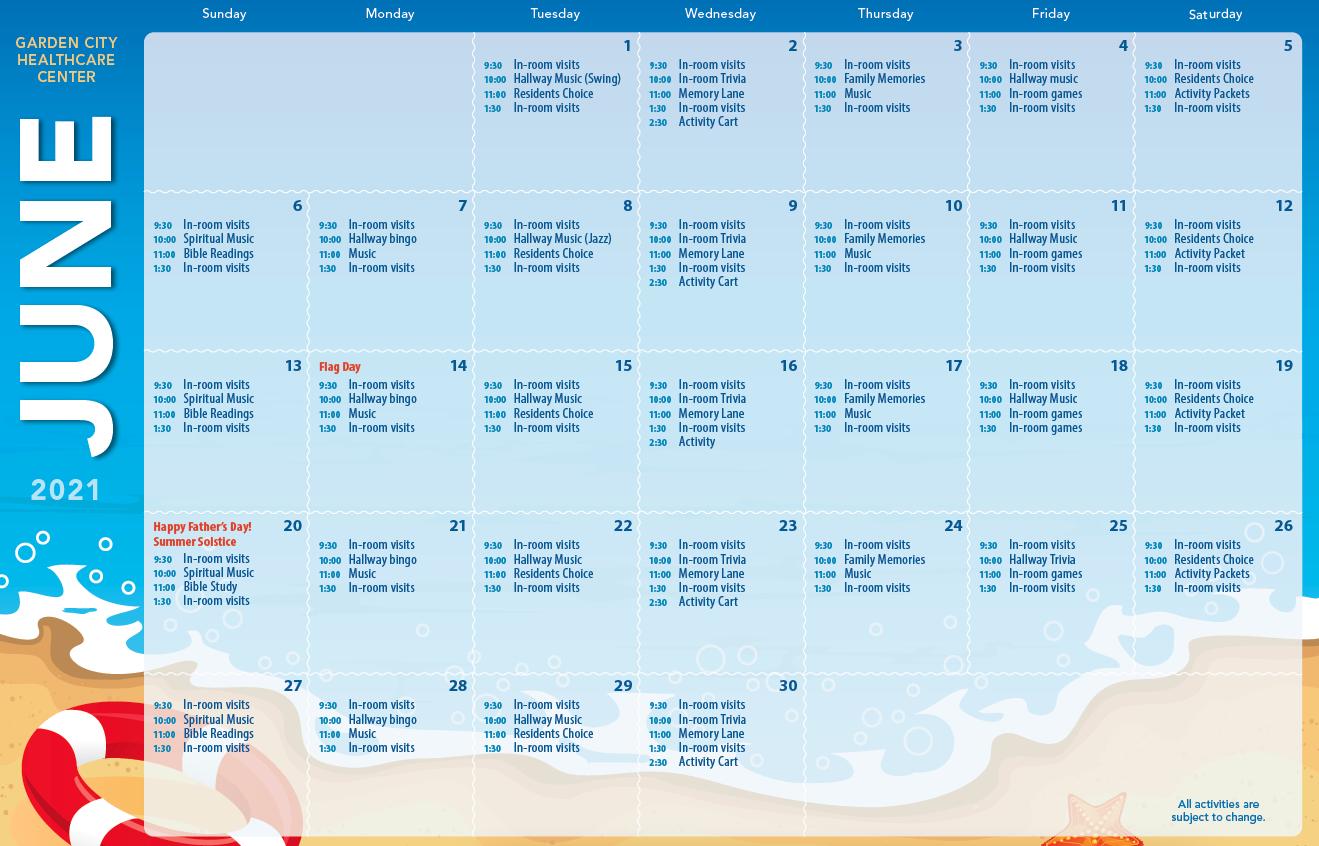 Garden City June Calendar