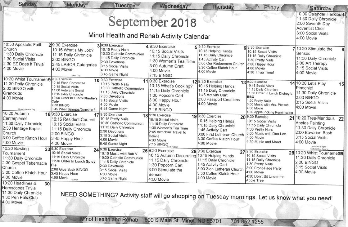 Minot September calendar