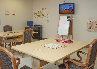 Activity room with games set out at the table
