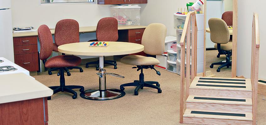 rehabilitation equipment with carpeted floor