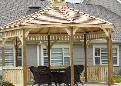 Sitting area under a gazebo