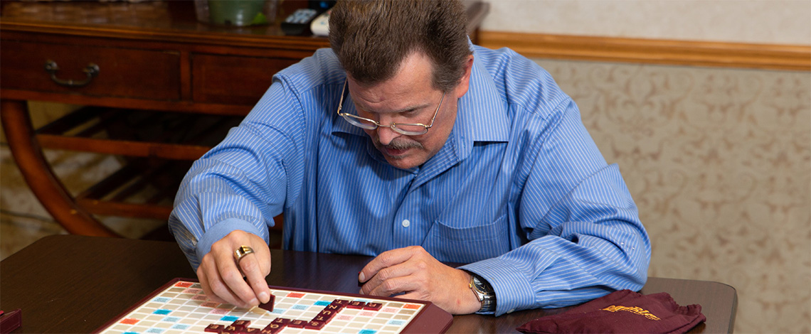 A man playing a board game