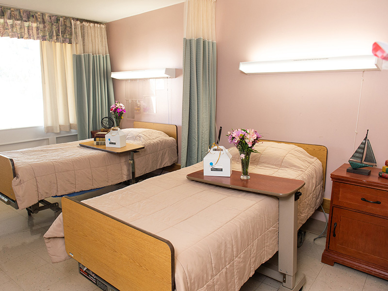 double bed inside facility